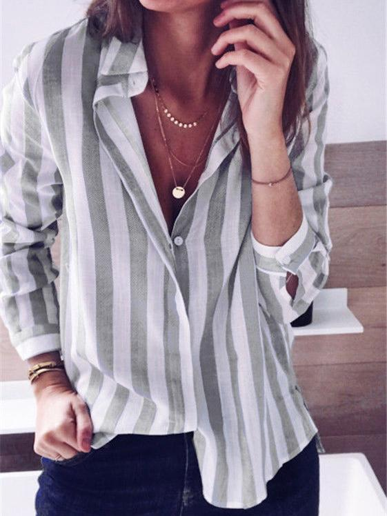 Long Sleeve Stripe Blouse-Blouses-hundredfeel.com-Grey-S-hundredfeel