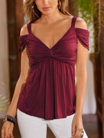 Deep V Pleated Sling Strapless Blouse-Blouses-hundredfeel.com-Burgundy-S-hundredfeel