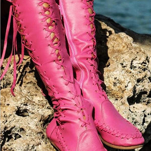 Women PU Casual Lace Up Knee Length Flat Boots-Boots-hundredfeel.com-PINK-34-hundredfeel
