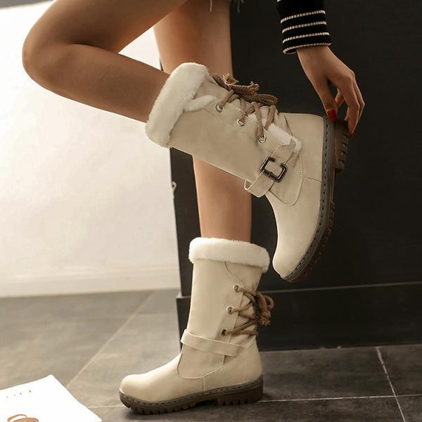 Women Waterproof Lace Up High Top Winter Snow Boots-Booties-hundredfeel.com-WHITE-34-hundredfeel