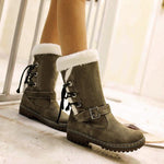 Women Waterproof Lace Up High Top Winter Snow Boots-Booties-hundredfeel.com-ARMY GREEN-34-hundredfeel