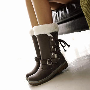 Women Waterproof Lace Up High Top Winter Snow Boots-Booties-hundredfeel.com-LIGHT BROWN-34-hundredfeel