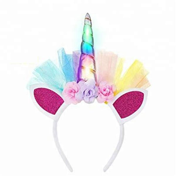 LED Unicorn Decorative Floral Headpiece Flashing Lights-toys-hundredfeel.com-pink-hundredfeel