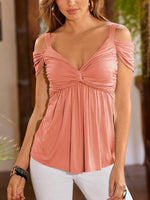 Deep V Pleated Sling Strapless Blouse-Blouses-hundredfeel.com-Pink-S-hundredfeel