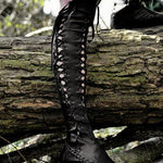Women PU Casual Lace Up Knee Length Flat Boots-Boots-hundredfeel.com-BLACK-34-hundredfeel