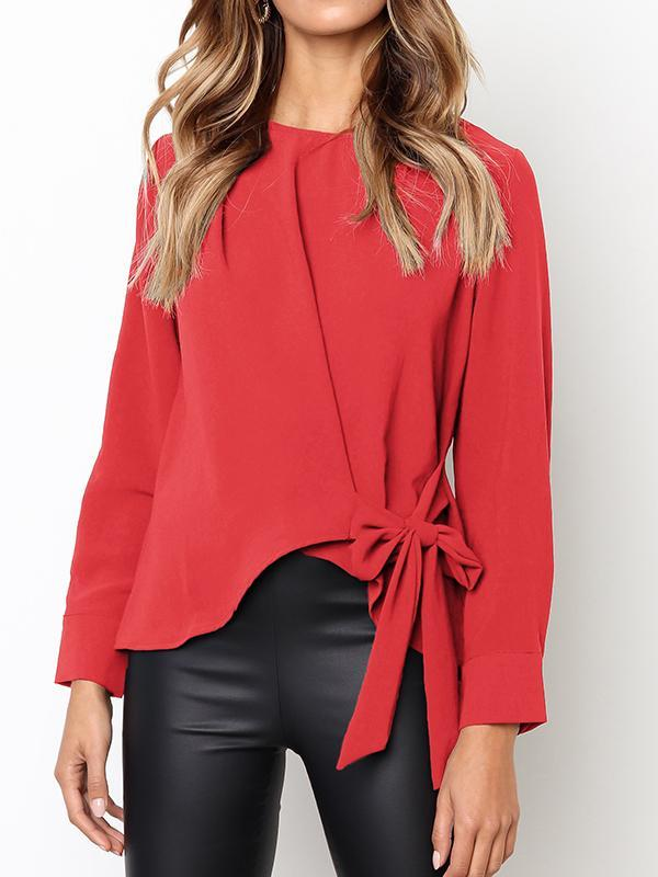 Bow Knot Irregular Solid Blouse-Blouses-hundredfeel.com-Red-S-hundredfeel