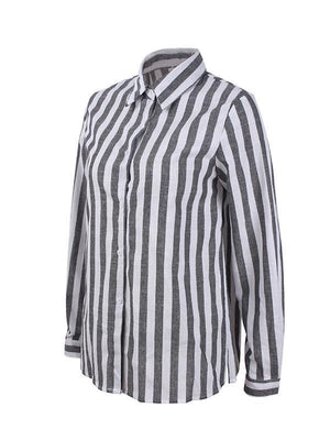 Long Sleeve Stripe Blouse-Blouses-hundredfeel.com-hundredfeel