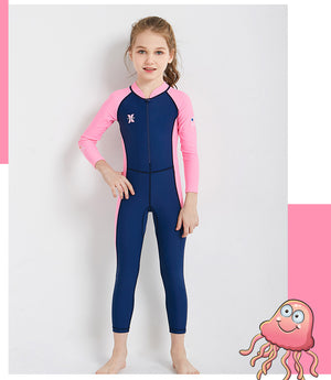 Wetsuits for Kids Boys Girls Back Zipper One Piece Swimsuit UV Protection-Wetsuits-hundredfeel-Blue-S-hundredfeel