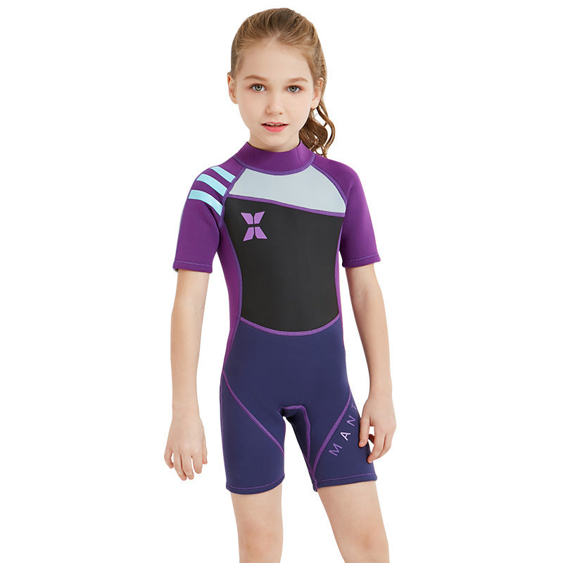 2.5mm Half Sleeve Back Zipper One Piece Wetsuits-wetsuits-hundredfeel-hundredfeel