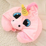 Unicorn Hooded Travel Neck Pillow Funny Gifts for Children and Ladies-home&kitchen-hundredfeel-pink-hundredfeel