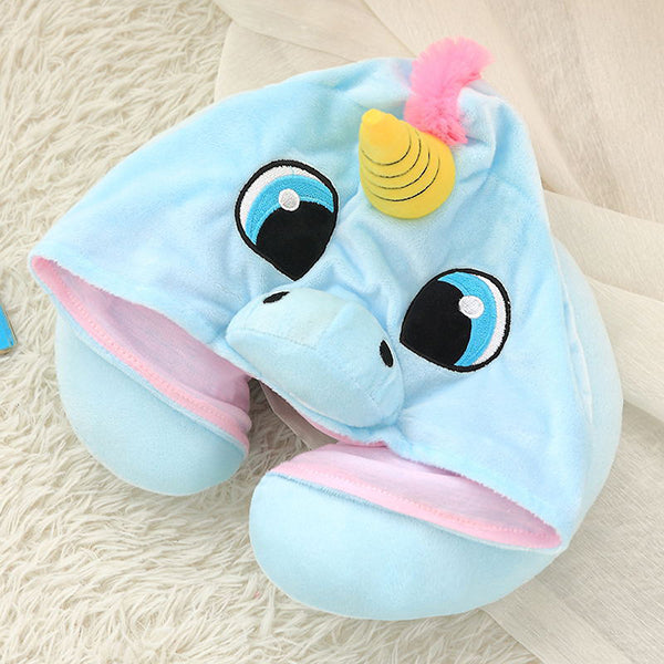 Unicorn Hooded Travel Neck Pillow Funny Gifts for Children and Ladies-home&kitchen-hundredfeel-blue-hundredfeel