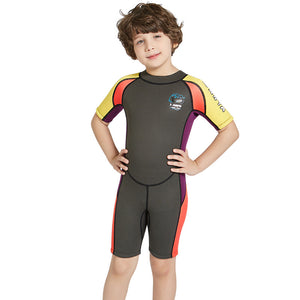 2.5mm Half Sleeve Wetsuits for Kids Boys Girls Back Zipper One Piece Swimsuit-Wetsuits-hundredfeel-hundredfeel