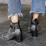 Punk Style Stud Buckle Casual Booties-Booties-hundredfeel.com-BLACK-34-hundredfeel