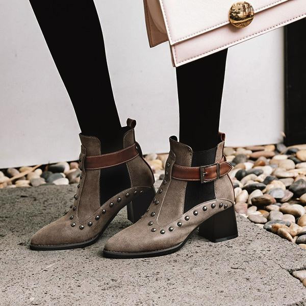 Punk Style Stud Buckle Casual Booties-Booties-hundredfeel.com-BROWN-34-hundredfeel