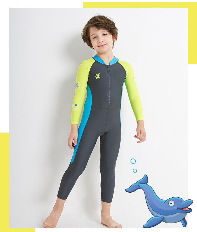 Wetsuits for Kids Boys Girls Back Zipper One Piece Swimsuit UV Protection-Wetsuits-hundredfeel-Grey-S-hundredfeel
