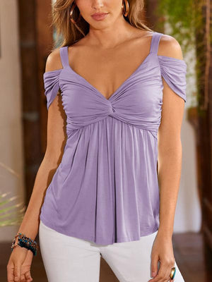 Deep V Pleated Sling Strapless Blouse-Blouses-hundredfeel.com-Purple-S-hundredfeel