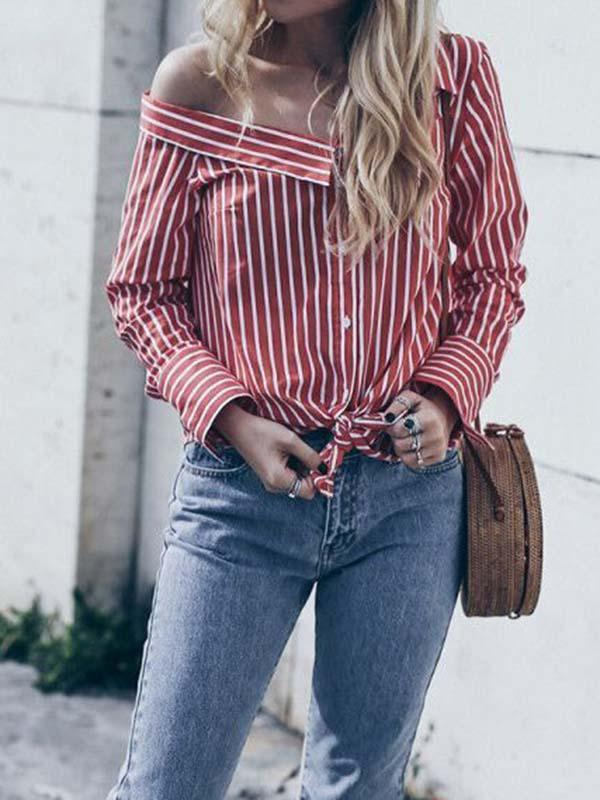Fashion Stripe Irregular Blouse-Blouses-hundredfeel.com-Red-S-hundredfeel