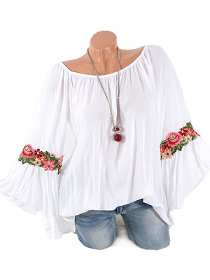 Embroidered Loose Fitting Floral Bell Sleeve Blouses-Blouses-hundredfeel-WHITE-S-hundredfeel