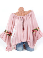 Embroidered Loose Fitting Floral Bell Sleeve Blouses-Blouses-hundredfeel-PINK-S-hundredfeel