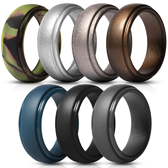 Silicone Rings Rubber Wedding Bands Set of 7-home&kitchen-hundredfeel-5-hundredfeel