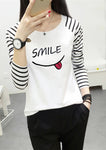 Round Neck Letters Stripes T-Shirts-Pullover-hundredfeel-SMILE-M-hundredfeel