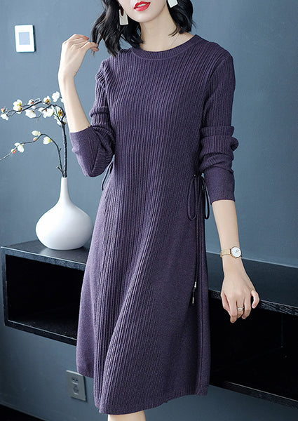 Solid Color Round Neck Drawstring Plain Shift Dress-Pullover-hundredfeel-PURPLR-ONE SIZE-hundredfeel