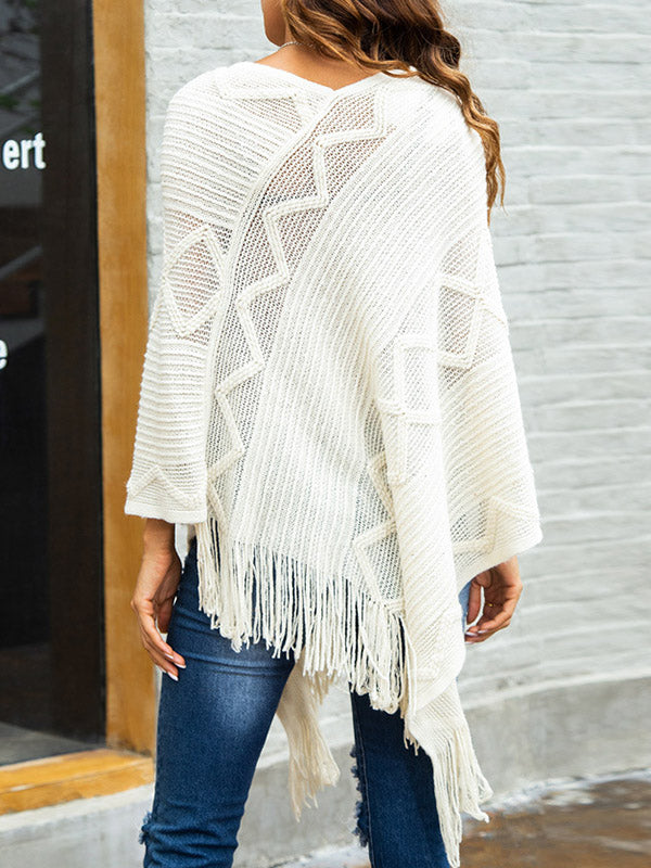 Fringed Irregular Knit Shawl-Pullover-hundredfeel-hundredfeel