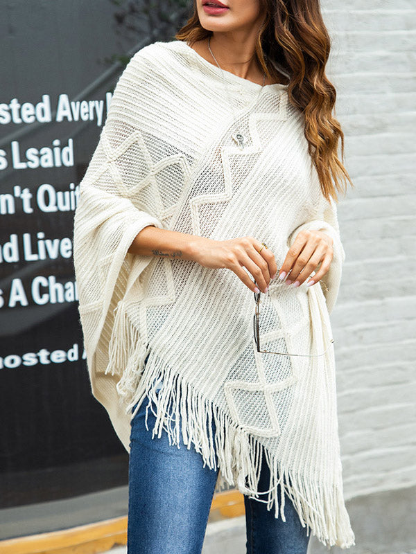 Fringed Irregular Knit Shawl-Pullover-hundredfeel-WHITE-S-hundredfeel