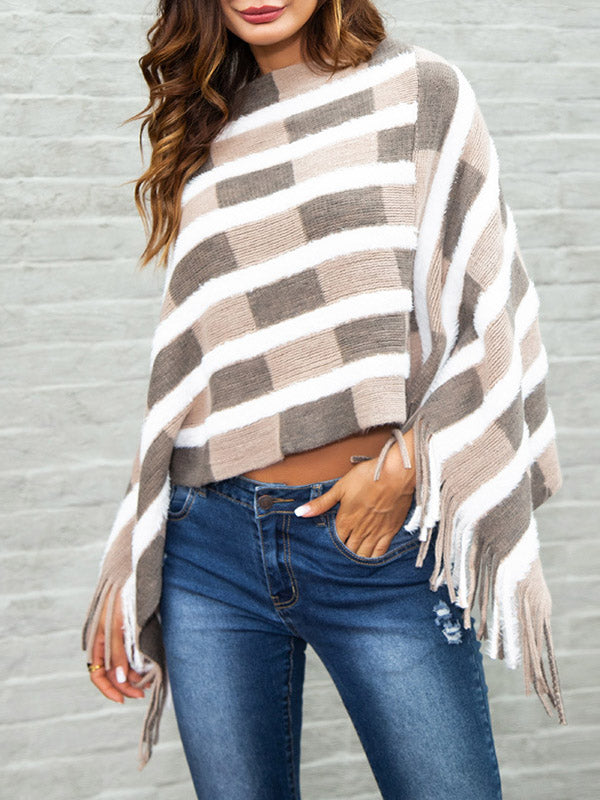 Brick Stripe Irregular Sweater Shawl-Pullover-hundredfeel-PINK-S-hundredfeel