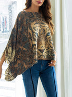 Tiger Pattern Irregular Shawl-Pullover-hundredfeel-GOLD-S-hundredfeel