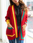 Long Sleeve Christmas Pocketed Cardigan-Cardigans-hundredfeel-RED-S-hundredfeel