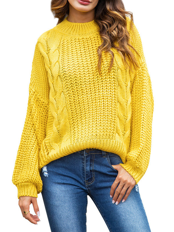 Twist Stripe Loose Pullover Short Sweater-Pullover-hundredfeel-YELLOW-S-hundredfeel