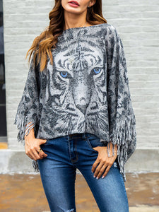 Tiger Pattern Irregular Shawl-Pullover-hundredfeel-GREY-S-hundredfeel