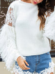 Half Clean Lace Sleeve Sweater With Tassels-Pullover-hundredfeel-WHITE-S-hundredfeel