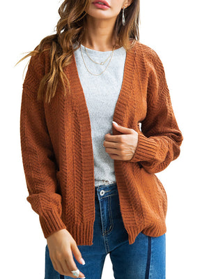 Women's Regular Knit Cardigan-Cardigans-hundredfeel-BROWN-S-hundredfeel