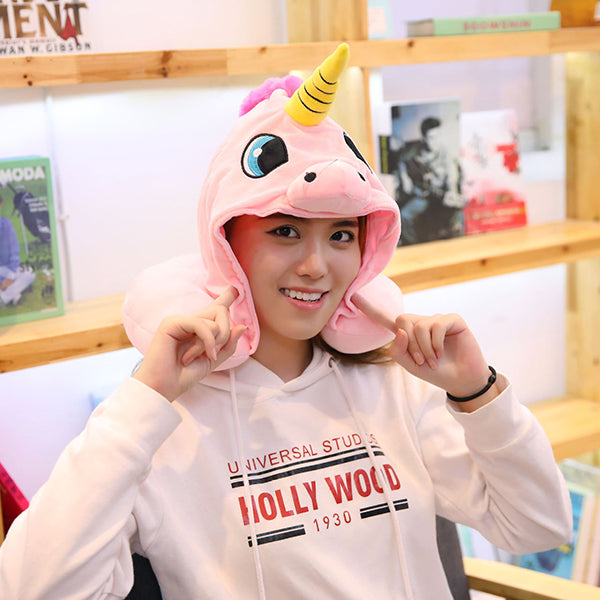Unicorn Hooded Travel Neck Pillow Funny Gifts for Children and Ladies-home&kitchen-hundredfeel-hundredfeel