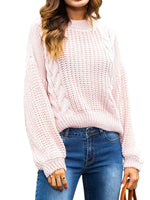 Twist Stripe Loose Pullover Short Sweater-Pullover-hundredfeel-LIGHT PINK-S-hundredfeel