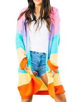 Rainbow Striped Long Cardigan-Cardigans-hundredfeel.com-ORANGE-S-hundredfeel
