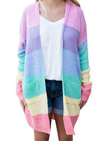 Rainbow Striped Long Cardigan-Cardigans-hundredfeel.com-PINK-S-hundredfeel