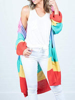 Rainbow Striped Long Cardigan-Cardigans-hundredfeel.com-RED-S-hundredfeel