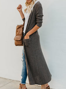 Fashion Large Pocket Casual Long Cardigan-Cardigans-hundredfeel.com-GREY-S-hundredfeel