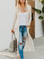 Fashion Large Pocket Casual Long Cardigan-Cardigans-hundredfeel.com-WHITE-S-hundredfeel
