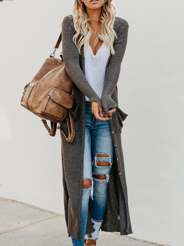 Fashion Large Pocket Casual Long Cardigan-Cardigans-hundredfeel.com-hundredfeel
