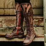 Women Vintage Side Zipper Lace Up Combat Boots-Boots-hundredfeel.com-BROWN-36-hundredfeel