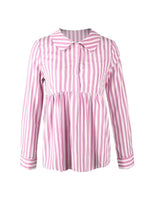 Casual Stripe Blouse With Pocket-Blouses-hundredfeel.com-hundredfeel