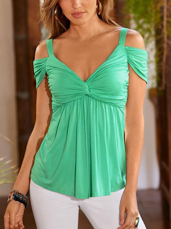 Deep V Pleated Sling Strapless Blouse-Blouses-hundredfeel.com-Green-S-hundredfeel