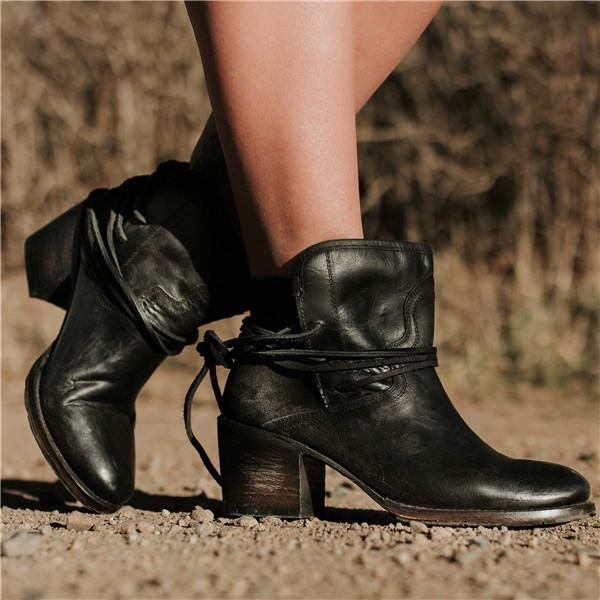 Women Vintage Lace Up Pointy Toe Ankle Booties-Booties-hundredfeel.com-BLACK-36-hundredfeel