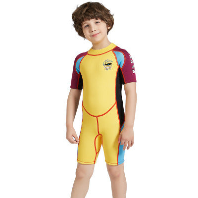 2.5mm Half Sleeve Wetsuits for Kids Boys Girls Back Zipper One Piece Swimsuit-Wetsuits-hundredfeel-Yellow-S-hundredfeel