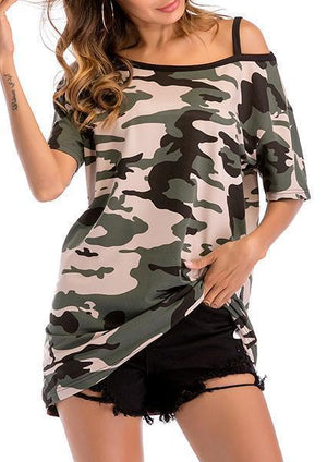 Camouflage Bare Shoulder Blouse-Blouses-hundredfeel.com-Green-M-hundredfeel
