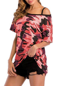 Camouflage Bare Shoulder Blouse-Blouses-hundredfeel.com-Red-M-hundredfeel